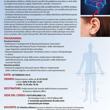 Seminario di Neuromodulazione Auricolare® in Posturologia